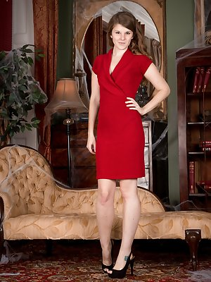 Jada has her new red dress on and is by her favorite elegant sofa. The dress slides off and so do her panties. She lays naked on her sofa and shows off her hairy pussy and pits in an elegant way.