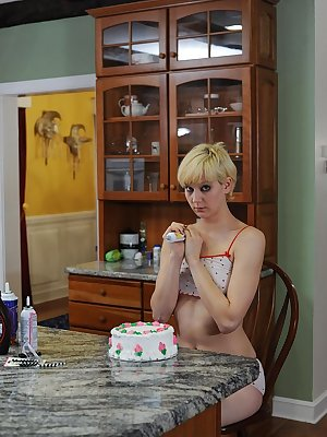 Female sex slave is covered in cake for misbehaving by her unhappy Domme