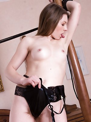 Amber S is sexy as a warrior in stockings. She strips naked across her red bed and shows off her hairy pussy. Several poses and her body across her bed leaves her looking hot and all-natural good.