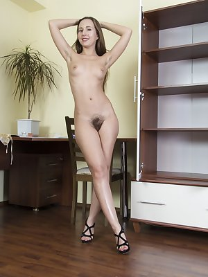 Lita is a naughty artist and you can see her penis drawing by picture six. She is horny, and after painting, she strips naked and we see her hairy pussy up her skirt along with her hairy pits and fine body.