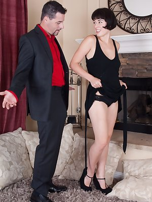After the party, Cocco and her man have fun. He strips her naked and takes her heels off. He sucks her feet & then licks her hairy pussy. She gives a sexy blowjob & is fucked until cummed on her pussy.