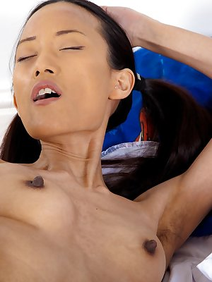 Inco has her hair done up in pigtails and her schoolgirl outfit on. This outfit makes her so horny that she busts out her favorite toy and shoves it into her hairy pussy in this great hirsute porn.
