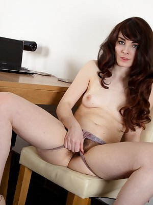 Hairy girl Melanie Kate enjoys waiting for her boss outside of a meeting. She is given privacy and decides to slowly strip and show her hairy pussy to anyone that looks. She enjoys putting on a show.