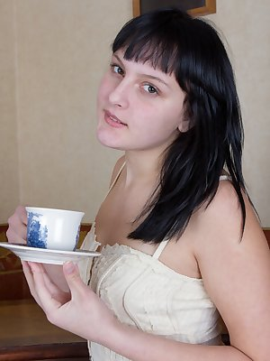 When hairy woman Emilija is out at a tea house, she gets really turned on. Since no one else was there, she decided to act on those impulses. She slowly pulled up her skirt and masturbates her pussy.