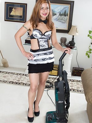 Isabel loves her job as a hairy woman maid. She enjoys dressing in her black and white uniform and vacuuming. She especially loves showing her nipples and masturbating her hairy pussy for her boss.