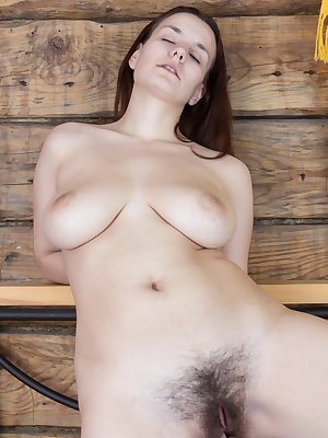 Khatherina loves putting on cute dresses. She puts on her favorite yellow dress and teases her lover with a striptease. She gets turned on and can't stop herself from playing with her hairy pussy.