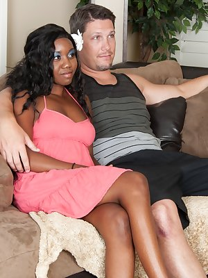 Nina Devon lets a bush loving white guy lick her hairy pussy. She sucks his cock and gets on top of him. They have hot interracial sex and he loves the feel of her furry pussy.