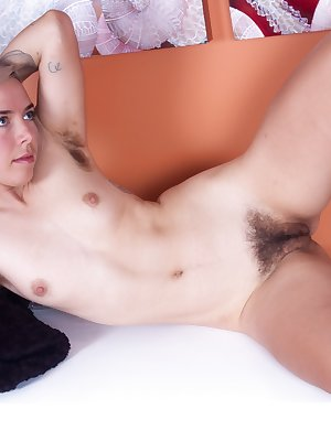 Cordelia is a sexy blonde babe with a hairy pussy and this hairy woman shows off her hairy armpits as well, after stripping out of her clothes and lingerie. Then she poses and shows it all off.
