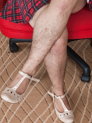 In her red chair, Lisandra is showing off her hairy legs and hairy pussy. She slowly undresses and lets us savor her hairy pits too. She enjoys spreading her legs and letting us all love her hairy bush.