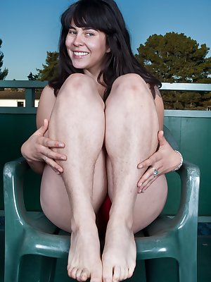 Australian brunette Cleo, has embraced her natural side by not shaving and letting her pussy and pits get hairy.  She loves the attention her hairy pussy gets from all the men at the lake.