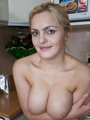 When hairy girl Lena takes off her clothes in the kitchen, you know you're in for a treat. And when the busty babe whips out some edible paint, you better be ready to get sticky, and hairy!