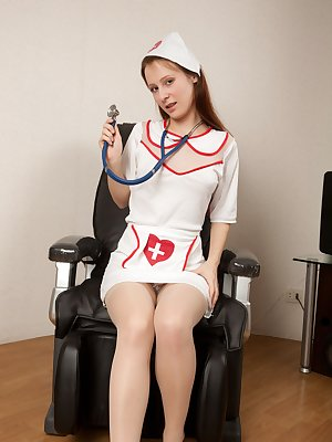 Dosya loves to dress up, today she wants to be a nurse and help people. She helps the only way she knows how, by stripping down and showing off her sexy natural body.