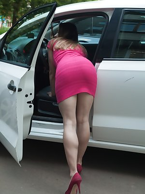 Regina come in from her car in her pink dress and slowly takes it off with her white lingerie. She shows off her 26 year-old hairy body with her hairy pits and her hairy pussy all over her place.