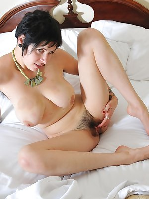 Tattooed natural nympho Luna is so horny when she wakes up. She cant help but lay on her soft sheets naked and spread her lovely raven haired pussy fur.