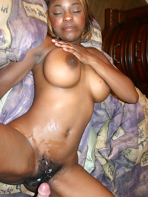 Ebony chick Coco Pink flaunts her huge boobies and got her black hairy pussy gooed and screwed