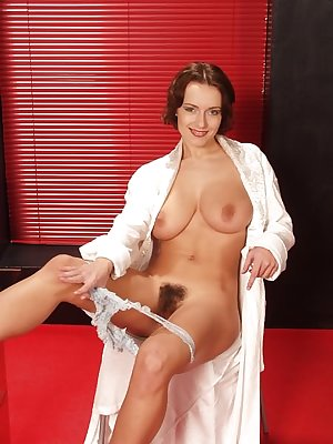 Breasty babe with kickass body exposing hairy pussy wanting to be fucked