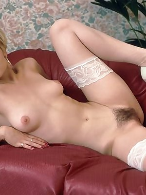 short haired blond babe spreads bushy clit