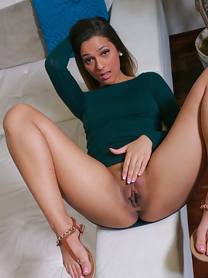 Cute brunette girl Jaye Summers hikes up her dress to expose her trimmed pussy