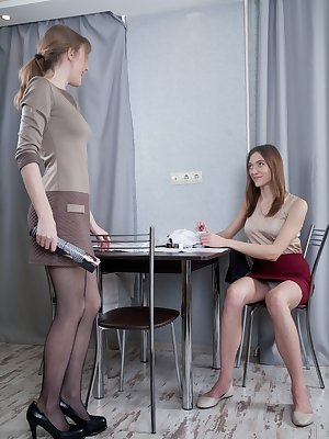 Lavatta W and Lillian Vi are aspiring designers and feeling horny together. After measuring, they strip naked and explore each others hairy pussies. Lots of fingering and licking goes on here.