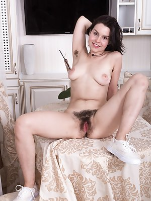 Ole Nina removing her baggy dress to reveal saggy tits & extremely hairy pussy