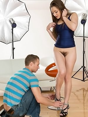 Leg model Dani Daniels gets a little help in trimming her all natural pussy