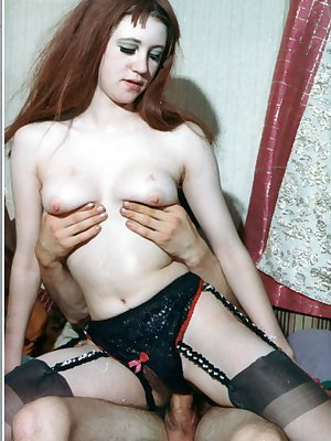Hot redhead taking a hard cock in her hairy pussy in vintage porn scene