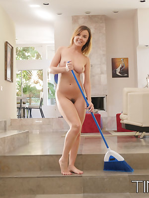 Busty solo girl Dillion Harper opts to do her housework in the nude