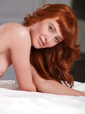 Hot redhead Oxavia drops her sexy blue dress to show closeup titties & twat
