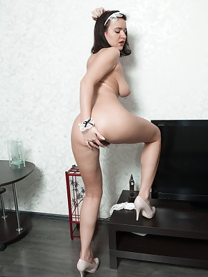 Isn't Ramira the sexiest cleaning woman around? dressed sexy she shows off her body and strips naked when done. She sits on the floor and fingers her wet hairy pussy and masturbates after her job.