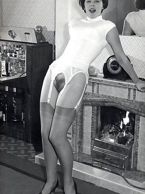 Hot models of yesteryear showing off their hairy muffs in vintage porn scenes