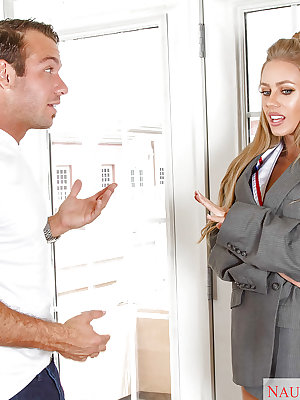Blond pornstar Nicole Aniston doing a sexy striptease out of uniform
