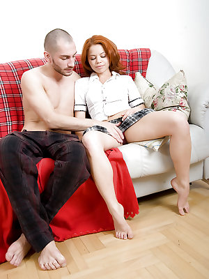 Tiny Euro first timer Ekaterina taking cock in hairy pussy on futon