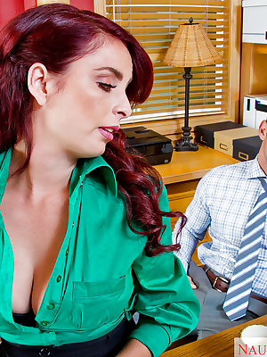 Redhead office slut Ashlee Graham masturbates and takes cumshot on cunt