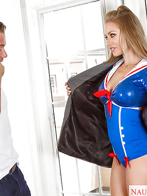 Buxom blonde Nicole Aniston with large cock stuffed inside her shaved twat