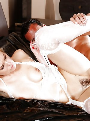Amazing pale beauty Keira Nicole getting cum all over her pussy