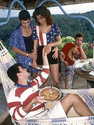 Patriotic April Summer gets banged in outdoor orgy in vintage 4th celebration