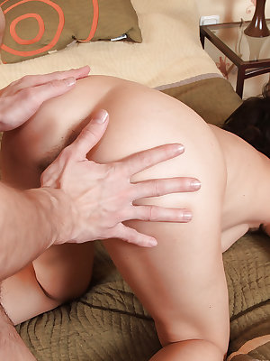 Slutty chick with hairy armpits gets her shaggy twat cocked up and jizzed