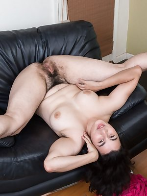 Horny dark haired Wara strips off to show sexy feet and extremely hairy bush