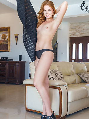 Small titted ginger Dgil hikes her skirt to show a natural hairy pussy