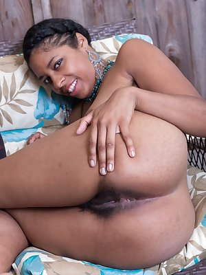 Sexy ebony Dharma Grace spreading her hairyy pussy wide for close up view