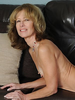 Older lady goes for an up skirt panty flash before modeling in birthday suit