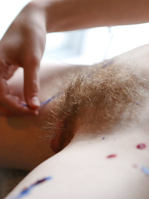 Natural redhead Sondrine drips hot wax on her naked body and masturbates