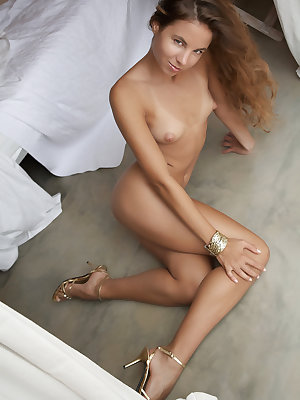 Beautiful brunette Altea B posing naked to show tiny tits & small hot ass