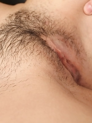Teen cutie with big tits Annika has her hairy pussy licked out