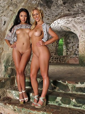 Blonde MILF Cherie DeVille and hot Latina gf having lesbian sex in cellar