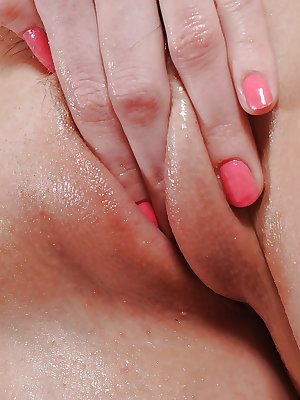 Euro cutie Kattie shows off closeup cameltoe and plunges fingers in wet cunt