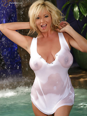 Hot blonde MILF Rachel Aziani flashes nude upskirt in wet sheer white lingerie