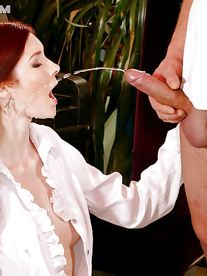 Sweet redhead slut Kate Gold gets her big tits and face peed on