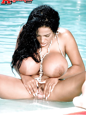 Chesty Latina MILF pornstar Busty Angelique spreading hairy pussy by pool