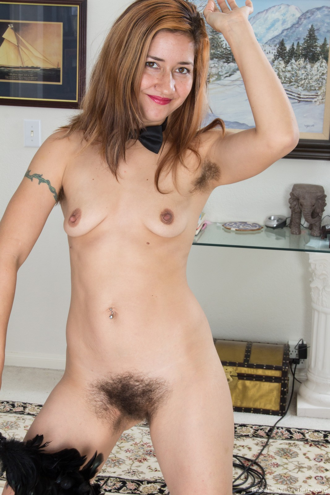 isabel loves her job as a hairy woman maid. she enjoys dressing in